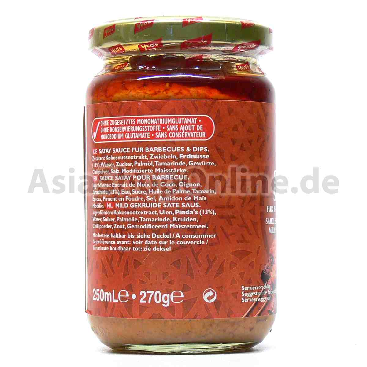 Erdnuss-Sauce Satay Sauce / Saté-Sauce - Yeos - 250ml | Würzsaucen ...